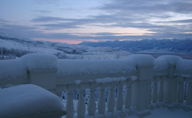Marble Balustrade and mountains