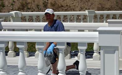 Shane cleaned, caulked and painted the railings